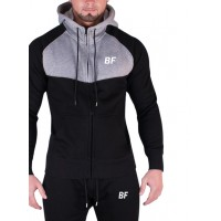 Grey/Black tight fit men hoodie with zip