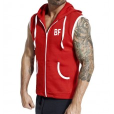 Red Sleeveless gym hoodie