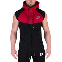Latest Design Zip Up Black/Red Man Sleeveless Hoodie