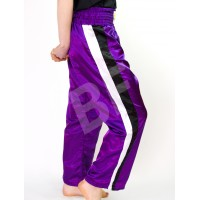 Purple Kickboxing Trousers Satin with White/Black Stripes