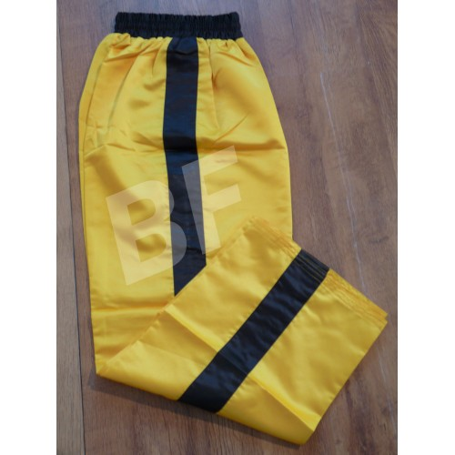 Yellow Satin Kickboxing Trouser with Black strip