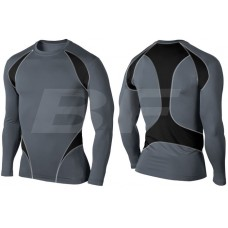Grey/Black Men Compression Long sleeve Rash Guard